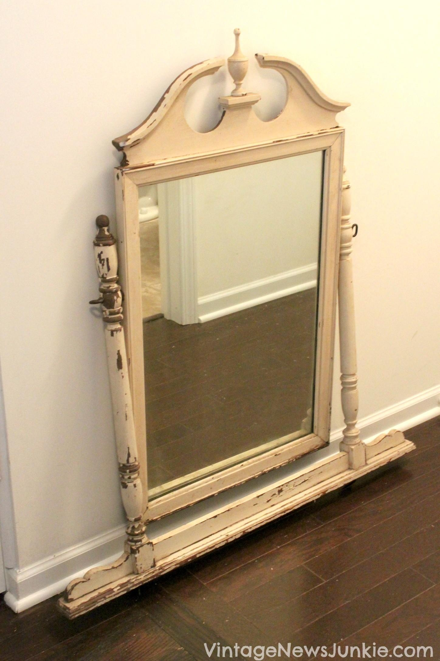 Antique Bathroom Vanities Ideas In Black Lacquered Wooden Console Inside Vintage Wood Mirrors (Image 3 of 20)