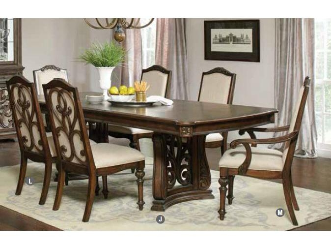 Antique Java Cream Fabric Trestle Dining Table Set With Regard To Recent Java Dining Tables (Image 5 of 20)
