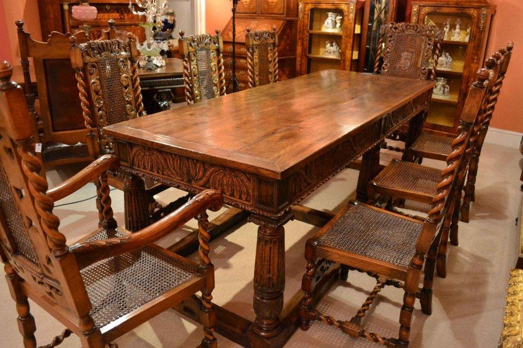 Antique Solid Oak Refectory Dining Table And 8 Chairs At 1Stdibs Pertaining To 2018 Oak Dining Tables And 8 Chairs (Image 3 of 20)