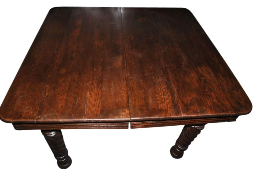 Antique Square 5 Leg Oak Dining Table (View 9 of 20)
