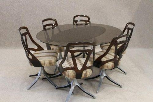 Antiques Atlas – Retro Dining Table And Chairs Regarding Newest Smoked Glass Dining Tables And Chairs (Image 5 of 20)