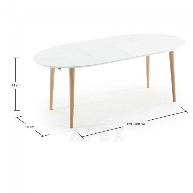 Antonelle Extendable Dining Table Oval White Top Natural Wood Legs With 2018 White Oval Extending Dining Tables (Image 2 of 20)