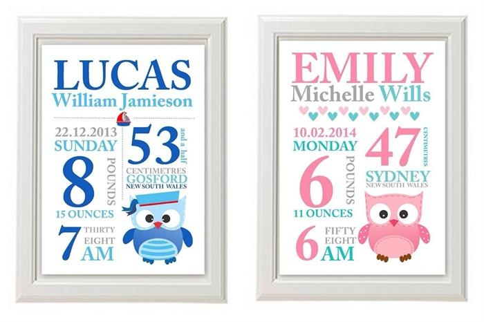 Any 2 Prints For $25 ~ Custom Baby Birth Print Announcement With Personalized Baby Wall Art (Image 7 of 20)