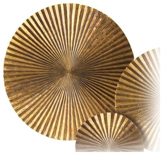 Apollo Metal Wood Crimped Gold Wall Plaque Disc, 12 Inside Decorative Metal Disc Wall Art (Image 3 of 20)