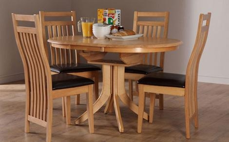 Appealing Extendable Dining Table Set With Dining Room The Within Recent Round Extending Oak Dining Tables And Chairs (Image 1 of 20)