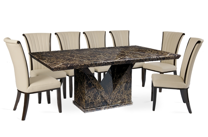 Appealing Marble Dining Table Set And Marble Dining Table In Most Recent Dining Tables And 8 Chairs (Image 4 of 20)