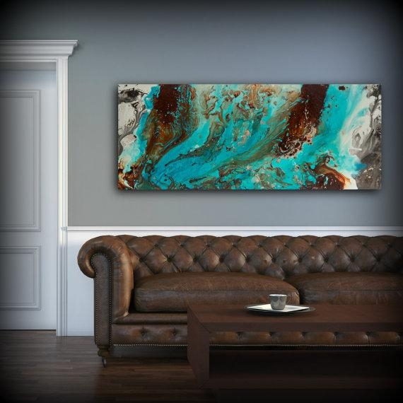 Aqua Print Blue And Brown Wall Art Decor Colourful Bohemian For Brown And Turquoise Wall Art (View 18 of 20)