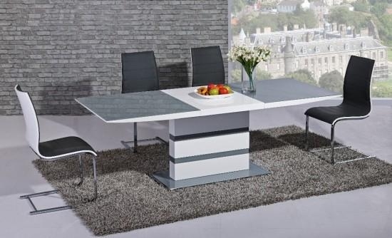 Arctic Grey And White High Gloss Extending Dining Table Dtx 2104Gw Pertaining To Most Up To Date High Gloss Extendable Dining Tables (Image 1 of 20)