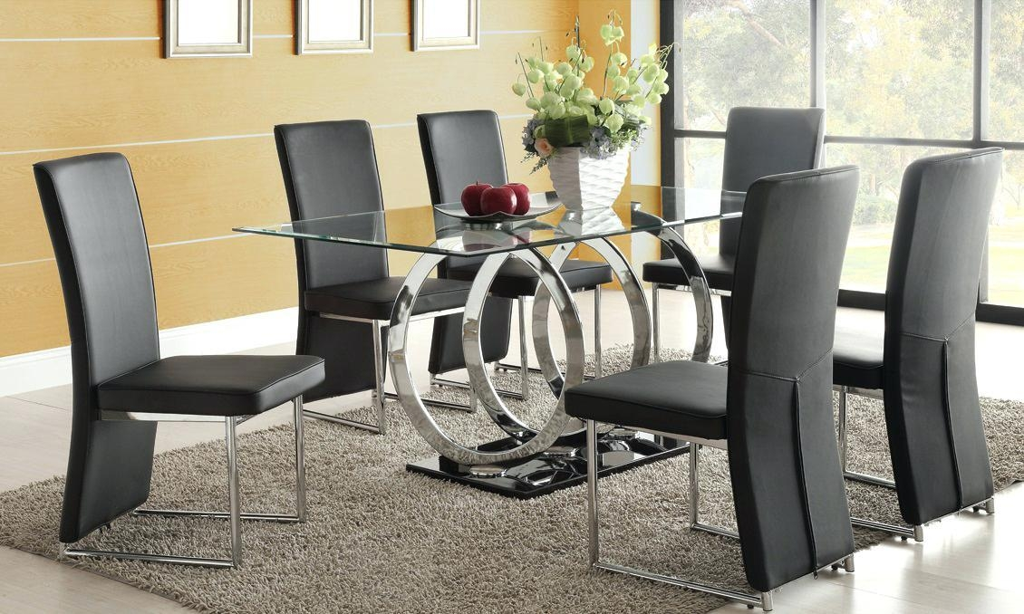 Arctic White Extending Black Glass Dining Table And 6 Chairs Round With Regard To Latest Black Glass Dining Tables With 6 Chairs (Image 2 of 20)