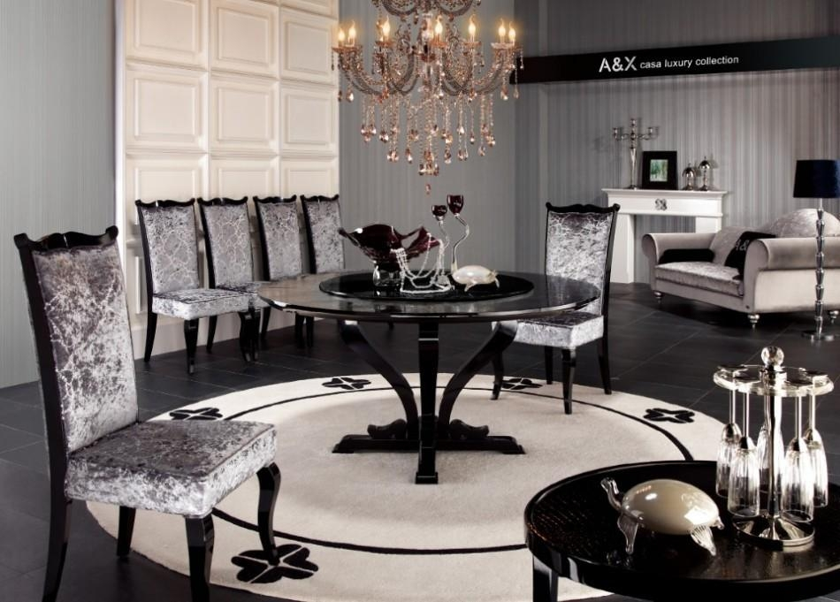 Armani Xavira Round Crocodile Lacquer Table Regarding Most Recently Released Black Gloss Dining Sets (Image 3 of 20)