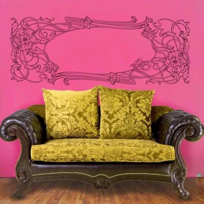 Art Nouveau Vinyl Wall Decal Vintage Sticker Art, Headboard, Free Within Art Deco Wall Decals (Image 8 of 20)