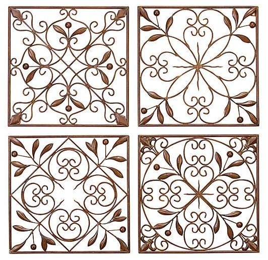 Artisan Scroll Wrought Iron Wall Decor, Set Of 4 – Traditional With Inexpensive Metal Wall Art (Image 2 of 20)