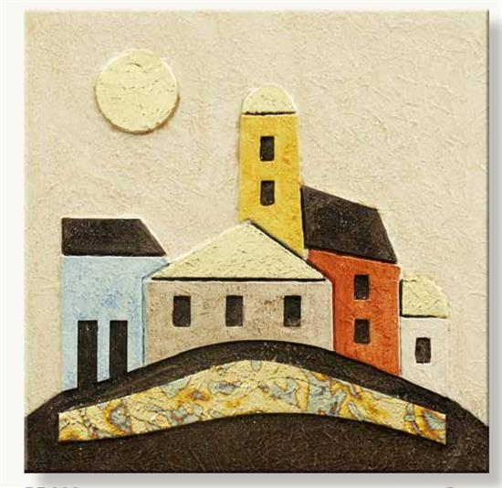 Artitalia Italian Village Hand Made Wall Art 35X35 Hand Painted Regarding Italian Village Wall Art (Image 6 of 20)