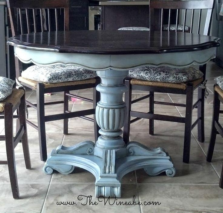 Ascp Louis Blue Paint Dining Table Makeover | Painted Furniture Within Most Recent Painted Dining Tables (View 19 of 20)