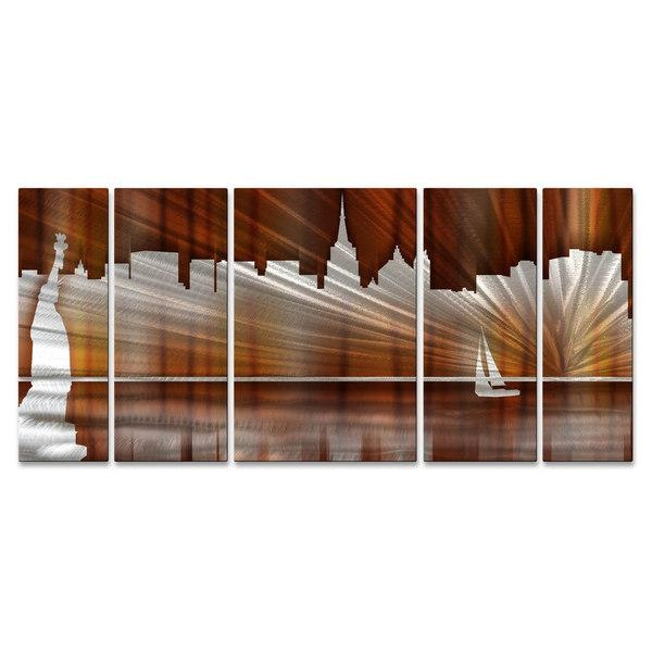Ash Carl 'warm New York City Skyline' Metal Wall Art – Free For Metal Wall Art New York City Skyline (Image 3 of 20)