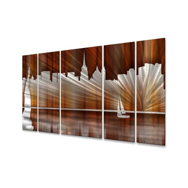 Ash Carl 'warm New York City Skyline' Metal Wall Art – Free Regarding Metal Wall Art New York City Skyline (Image 4 of 20)