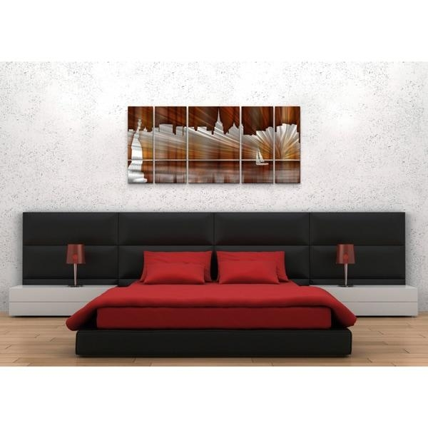 Ash Carl 'warm New York City Skyline' Metal Wall Art – Free With Metal Wall Art New York City Skyline (Image 5 of 20)