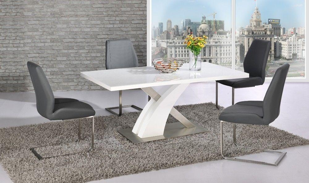 Astonishing Ideas Grey Dining Table And Chairs Cool Design With Regard To Grey Gloss Dining Tables (Image 4 of 20)