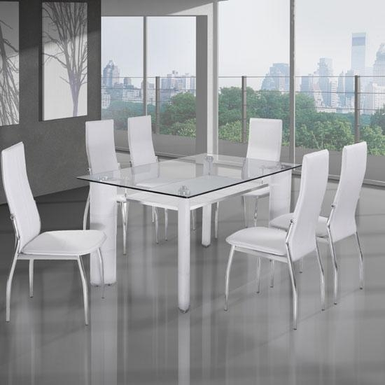 Astonishing White Glass Dining Table And 6 Chairs 89 For Chair Intended For 2018 Glass Dining Tables White Chairs (Image 2 of 20)