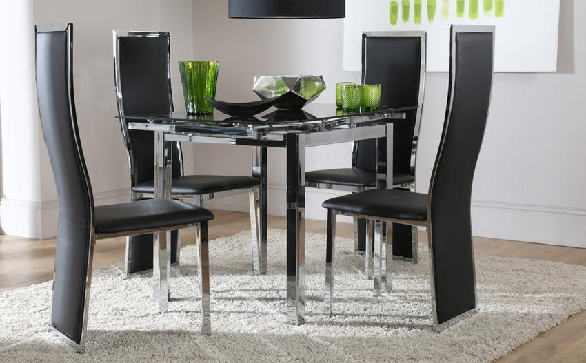 Astounding Extending Black Glass Dining Table And 6 Chairs Set 46 Pertaining To Most Current Black Glass Extending Dining Tables 6 Chairs (Image 3 of 20)