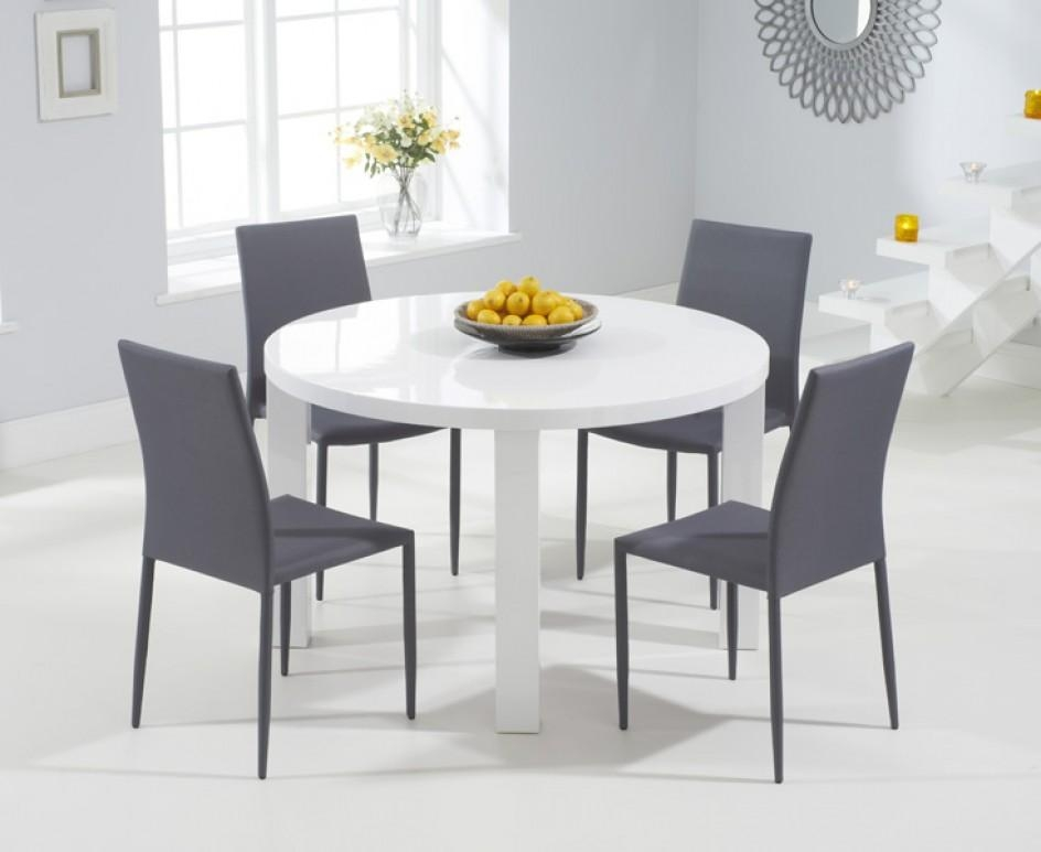 Atlanta 120Cm Round White High Gloss Dining Table With Atlanta Intended For White Gloss Dining Tables 120Cm (View 11 of 20)