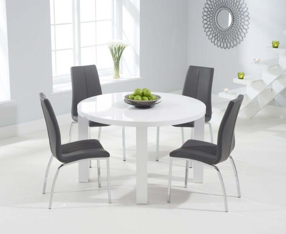 Atlanta 120Cm Round White High Gloss Dining Table With Cavello For Newest Cheap White High Gloss Dining Tables (Image 3 of 20)