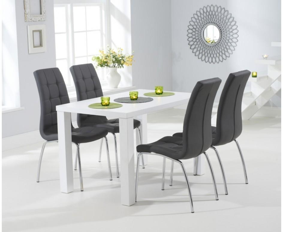 Atlanta 120Cm White High Gloss Dining Table With Calgary Chairs Regarding White Gloss Dining Tables 120Cm (Image 3 of 20)