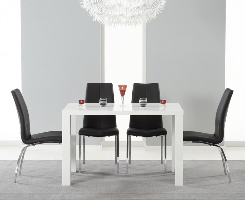 Atlanta 120Cm White High Gloss Dining Table With Cavello Chairs Pertaining To White Gloss Dining Tables 120Cm (Image 4 of 20)