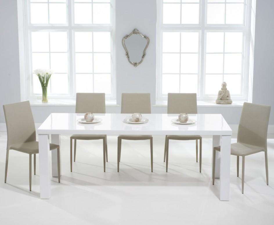 Atlanta 180Cm White High Gloss Dining Table With Atlanta Stackable With Regard To Most Popular 180Cm Dining Tables (Image 2 of 20)