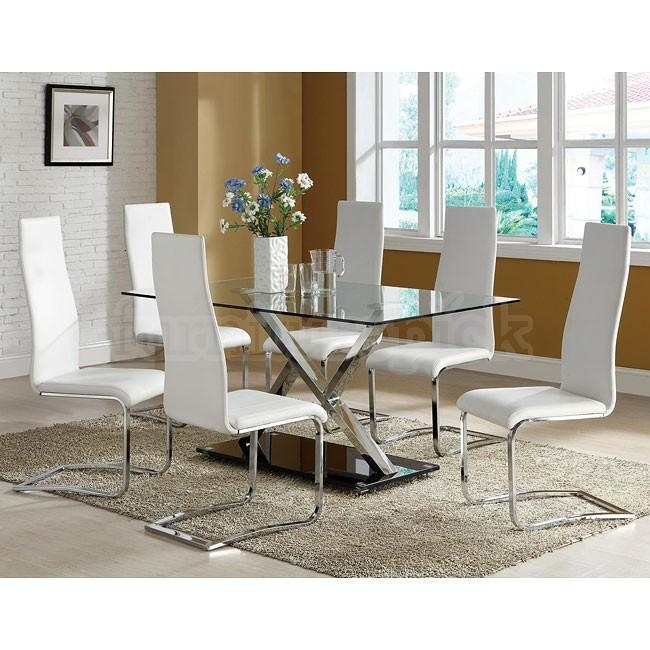 Attractive Inspiration White Dining Room Set | All Dining Room Pertaining To Most Up To Date Chrome Dining Tables And Chairs (Image 3 of 20)