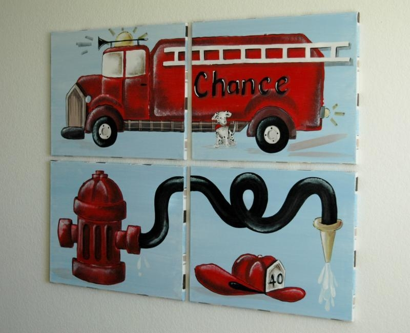 Austinartworks – Fire Truck Artfor Kid's Rooms Pertaining To Fire Truck Wall Art (View 2 of 20)