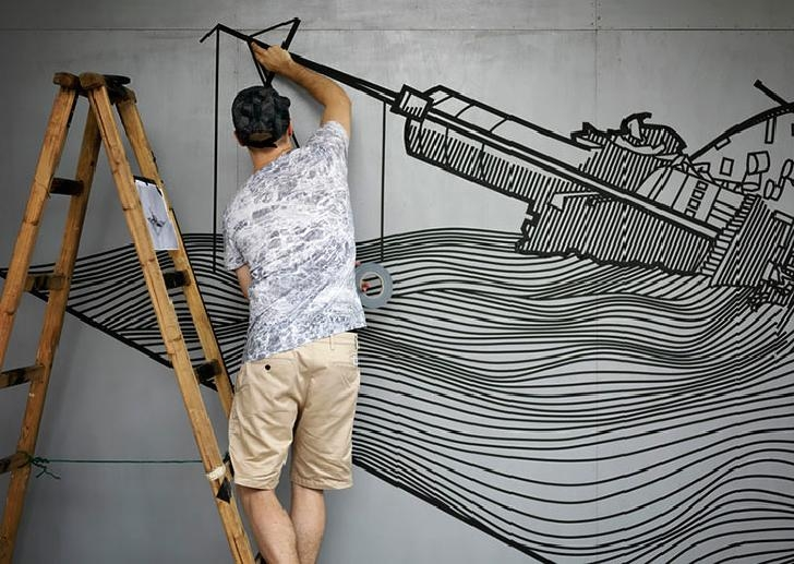 Australian Street Artist Uses Tape To Create Outstanding Works Of Within Duct Tape Wall Art (Image 4 of 20)
