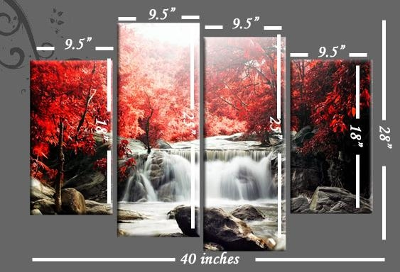 Autumn Forest Waterfall Split Panel Canvas Wall Art 40 Inch Wide Intended For Split Wall Art (View 6 of 20)