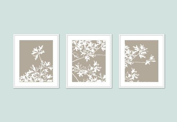 Autumn Tree Art Prints Modern Nature Wall Art Set Of 3 With Regard To Wall Art Sets Of  (Image 1 of 20)