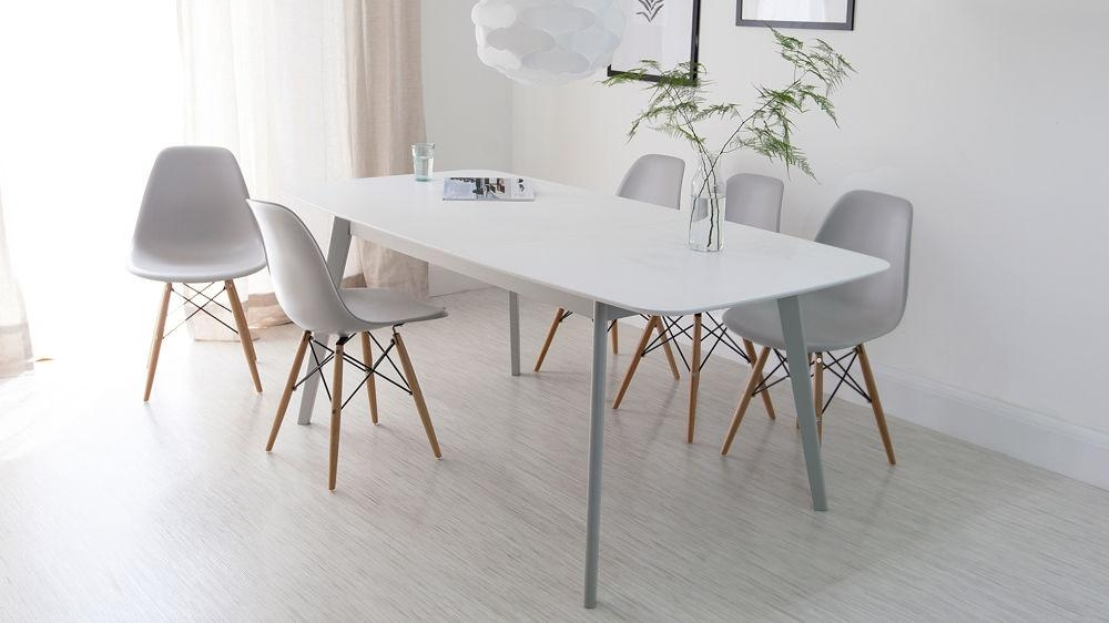 Aver Grey & White Extending Dining Table And Eames Chairs For Most Current White Dining Tables (View 7 of 20)