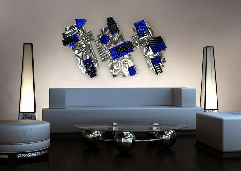 Aviator – Silver, Blue & Black Abstract 3D Metal Wall Art Inside 3D Metal Wall Art (Image 5 of 20)