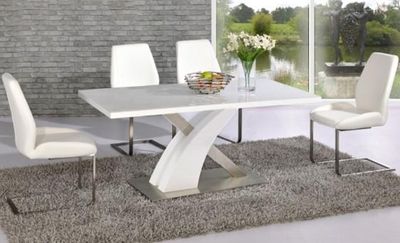 Avici Y Shaped High Gloss White And Chrome Dining Table 4 With White High Gloss Dining Tables And 4 Chairs (Image 1 of 20)