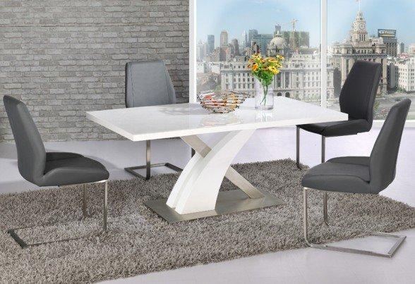 Avici Y Shaped High Gloss White Dining Table And 4 Dining In Most Recent High Gloss White Dining Chairs (Image 1 of 20)