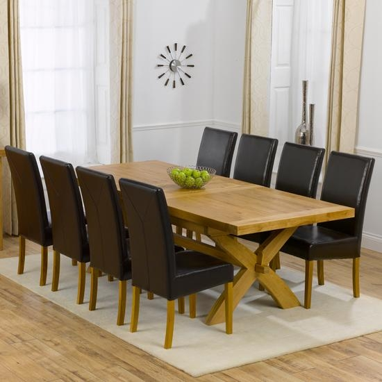 Avignon Oak Extending Dining Table And 8 Brown Rustique For Most Popular Oak Extending Dining Tables And 8 Chairs (View 18 of 20)