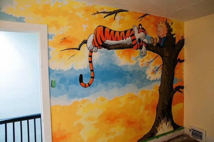 Awesome Calvin And Hobbes Mural Painted For A Nursery In Calvin And Hobbes Wall Art (Image 8 of 20)