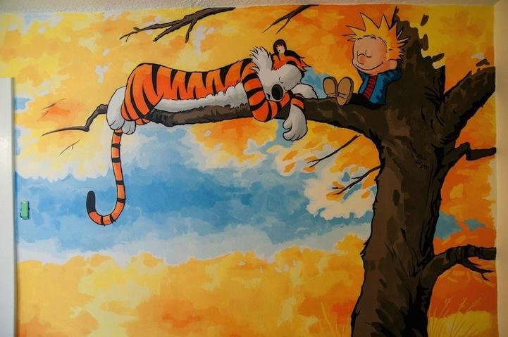 Awesome Calvin And Hobbes Mural Painted For A Nursery With Regard To Calvin And Hobbes Wall Art (Image 9 of 20)