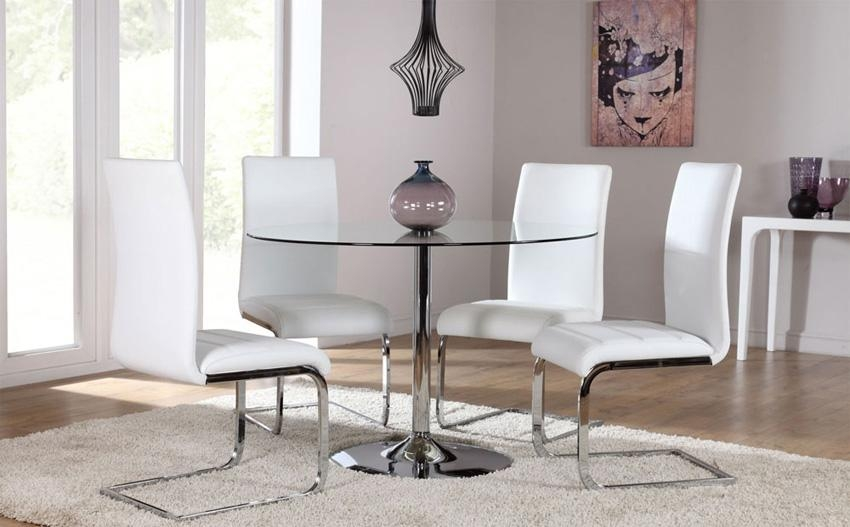 Awesome Round Glass Dining Room Table With Swirl Round Glass For Most Recently Released Chrome Dining Tables And Chairs (View 12 of 20)