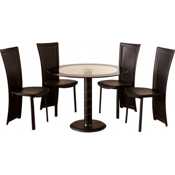 Awesome Small Black Dining Table And Chairs Small Round Dining With Regard To Most Recent Round Black Glass Dining Tables And 4 Chairs (Image 2 of 20)