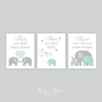 Baby Boy Nursery Art // Boy Nursery Decor From Yassi's Place For Elephant Wall Art For Nursery (Image 4 of 20)