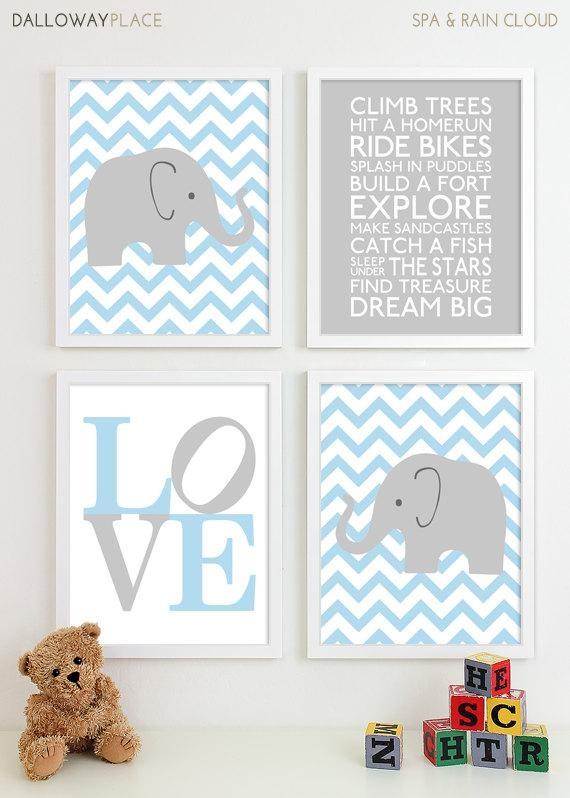 Baby Boy Nursery Art Chevron Elephant Nursery Prints Kids Regarding Elephant Wall Art For Nursery (View 16 of 20)
