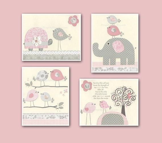 Baby Girl Art Nursery Wall Art Baby Girl Room Decor Nursery Within Wall Art For Little Girl Room (Image 1 of 20)