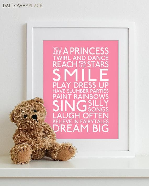 Baby Girl Nursery Decor Girl Wall Art Baby Girls Room Girls Pertaining To Wall Art For Little Girl Room (Image 3 of 20)