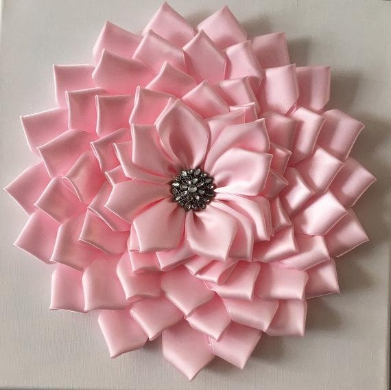 Baby Pink Kanzashi Flower Wall Art 12X12 For Flower Wall Art Canvas (Image 8 of 20)