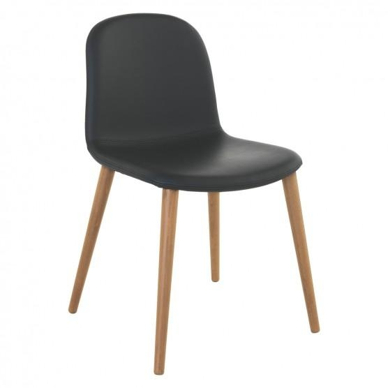 Bacco Black Leather Dining Chair With Oak Legs | Buy Now At Habitat Uk With Best And Newest Oak Leather Dining Chairs (Image 3 of 20)