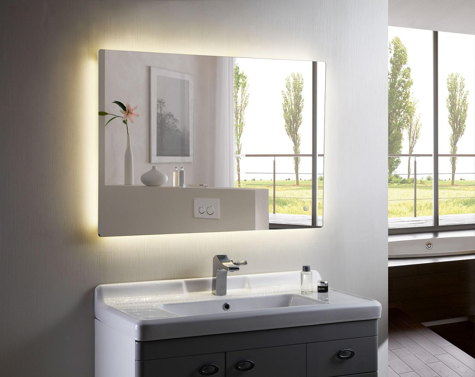 Back Lighted Bathroom Mirrors With Best Benefits Backlit Mirror Pertaining To Led Lit Bathroom Mirrors (Image 3 of 20)